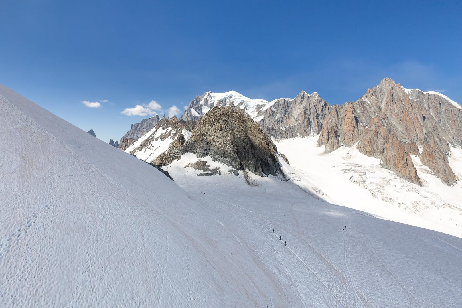 Über dem Mont-Blanc-Gletscher