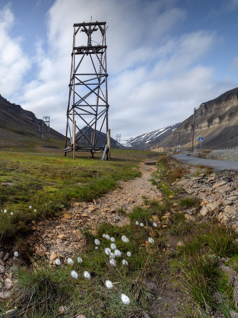 Ruins of coal mining cableway